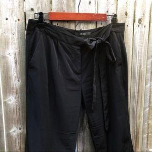 BCBG Black Silky Tie Waist Straight Leg Pants